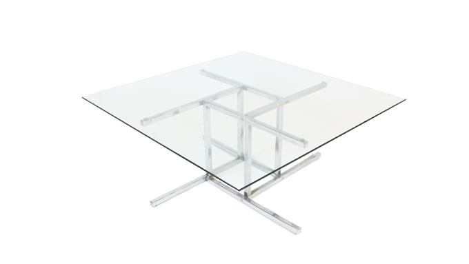 Mesa centro de cristal y metal