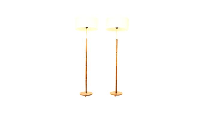 Pareja de lámparas en palosanto y latón
