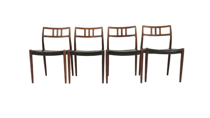Set de 4 sillas modelo 79 por N.O. Moller
